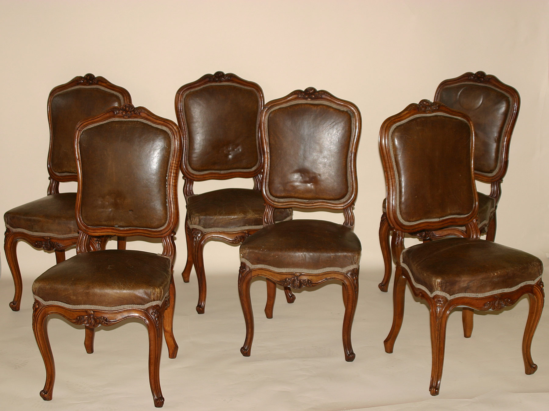 set of six french louis xv style chaises. Black Bedroom Furniture Sets. Home Design Ideas