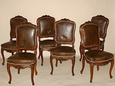 Set of six French, Louis XV style chaises