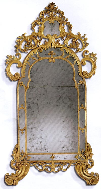 Very fine, Italian, giltwood mirror of large dimensions
