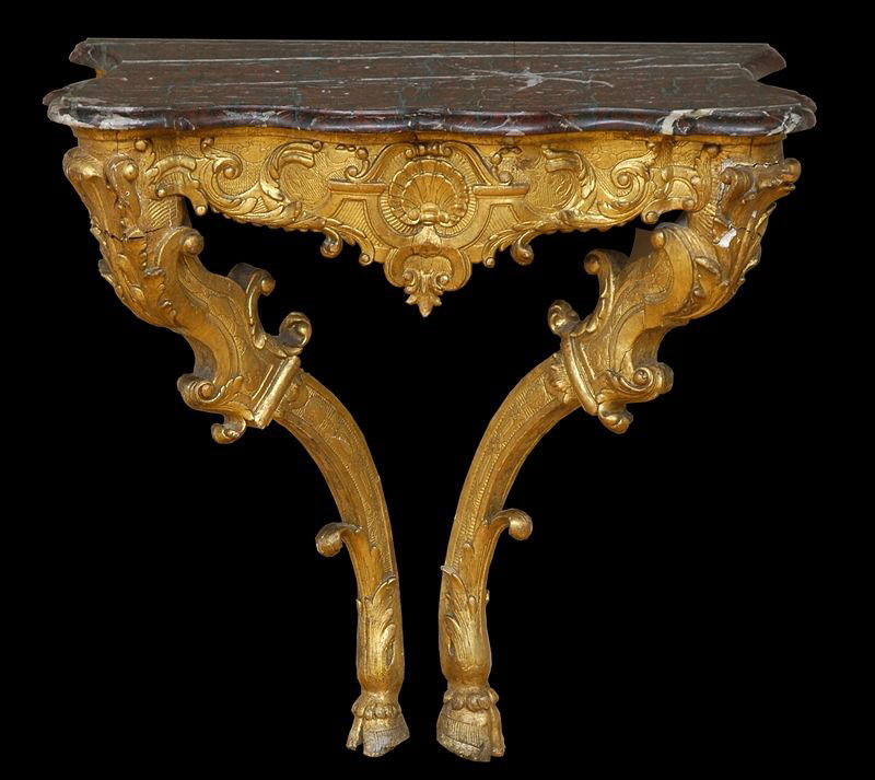 Fine, French, Regence period, carved giltwood console