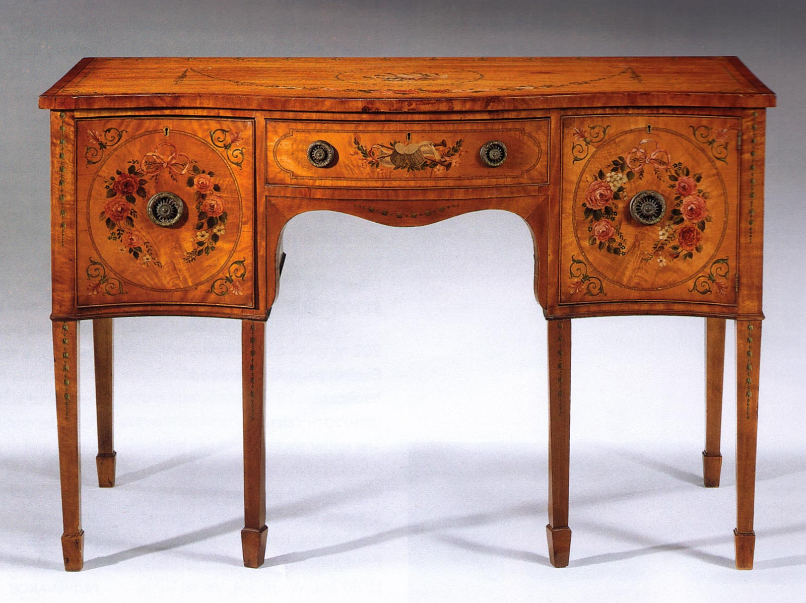 Edwardian, painted satinwood small sideboard