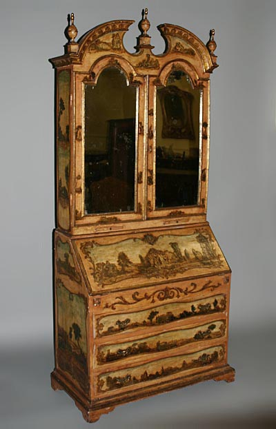 fine italian rococo style polychrome painted and laca povera bureau bookcase. Black Bedroom Furniture Sets. Home Design Ideas