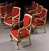 Set of twelve, fine, French Restauration, painted and parcel-gilded chairs