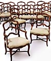 Set of fourteen, fine, French Provincial, Louix XV style chairs
