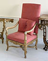 Set of six fine, French, Regence style, carved giltwood fauteuils