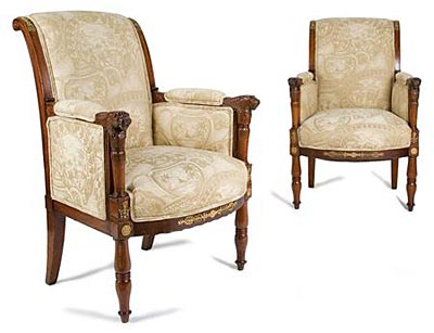 Pair of fine, French, Empire period, gilt-bronze mounted bergeres