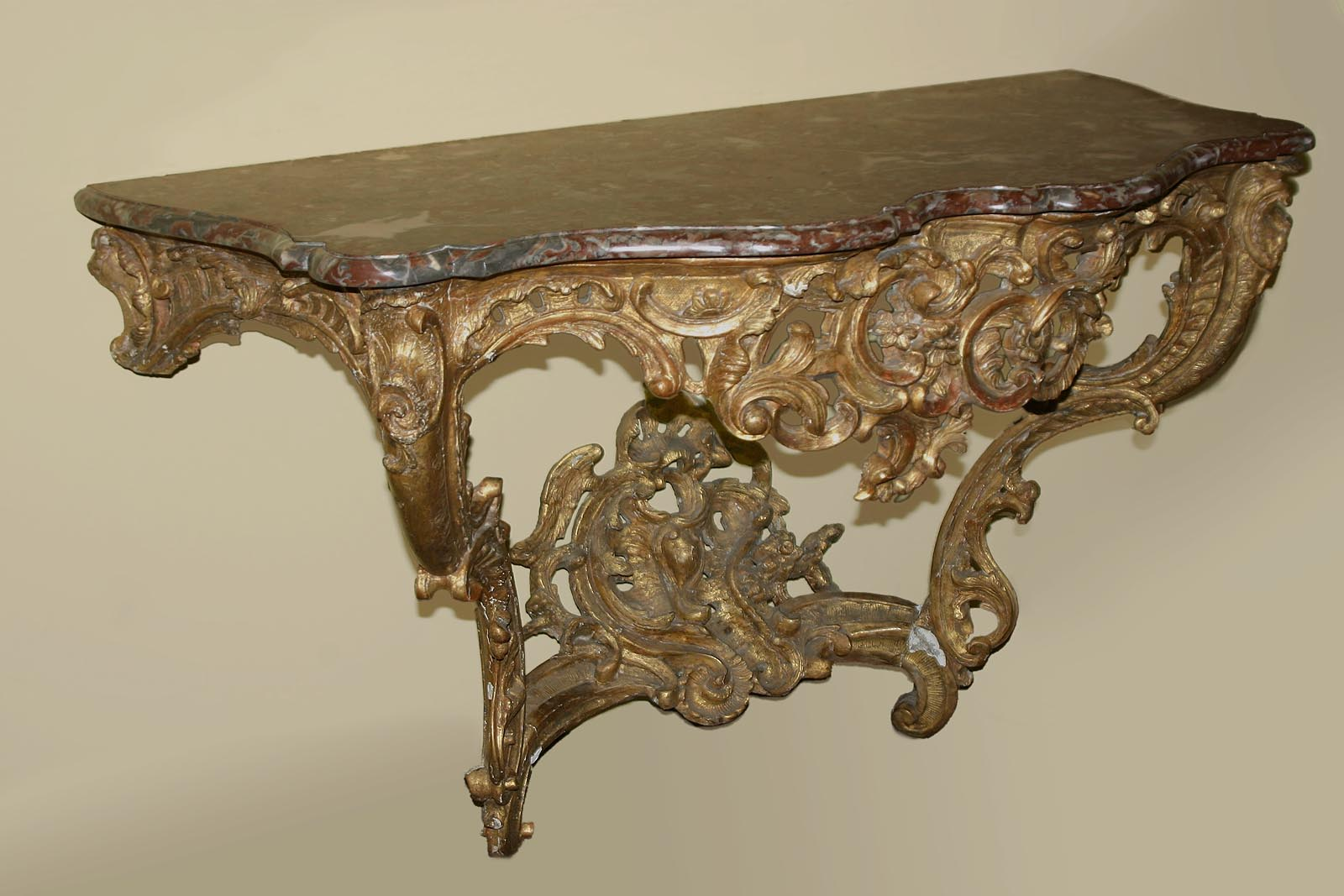Very fine, French, Louix XV period, giltwood console table