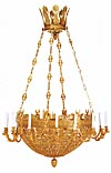 Very fine, Empire style, gilt-bronze, sixteen light chandelier of large dimension