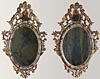 Pair of fine, Venetian, Rococo period, painted and parcel-gilded mirrors