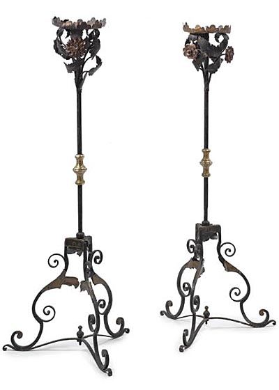 Pair of fine, Spanish, Baroque, wrought iron and brass torcheres