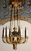 Very fine, French, Neo-classical style, bronze d'ore and patinated bronze, six-light chandelier