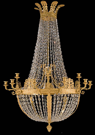 French empire style bronze dore and crystal chandelier fine french empire style bronze dore and crystal chandelier audiocablefo