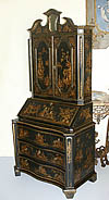 Fine, English, George I style, chinoiserie, fall-front secretary