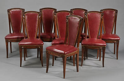 Set of Eight French, Art Nouveau period tall-back dining chairs