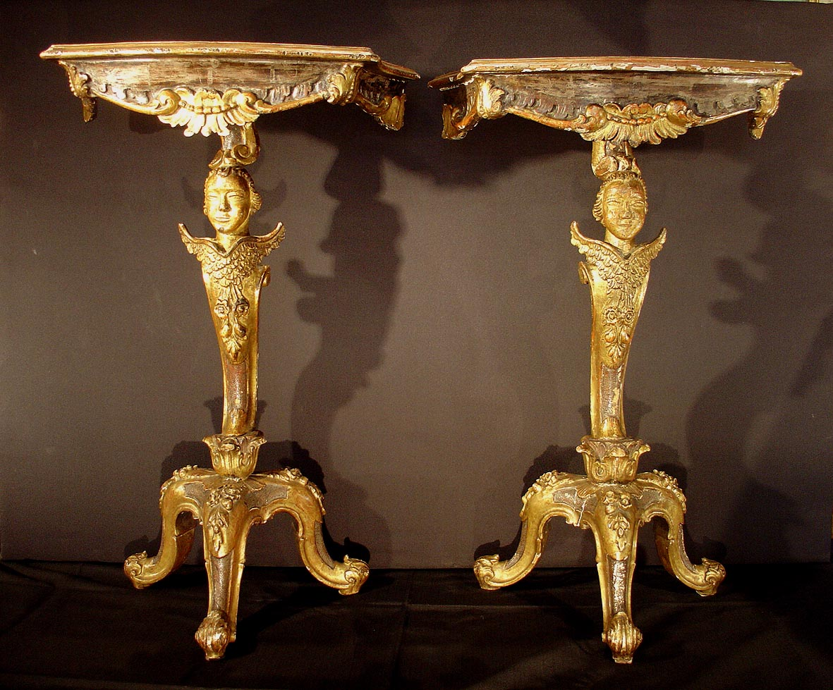 Pair of very fine venetian baroque period carved for Antique baroque furniture