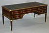 Very fine French, Neoclassical style, brass-mounted bureau plat