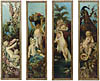 Set of four fine, German, Belle Époque period painted panels