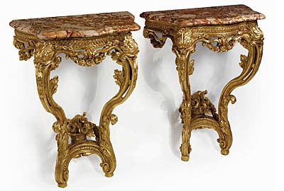 Pair of fine, French, Louis XV-XVI Transition period console tables