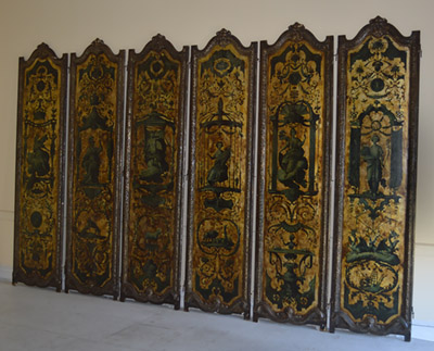 Italian, Baroque, gilt and polychrome-painted six-panel screen