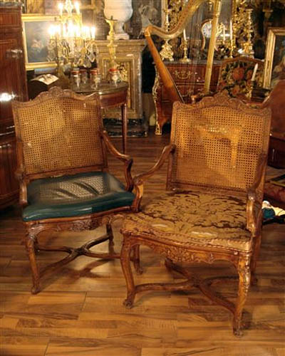 Pair of fine, French, Regence period fauteuils