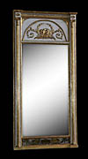 Fine, Swedish, Neoclassical period, verre �glomis� mirror