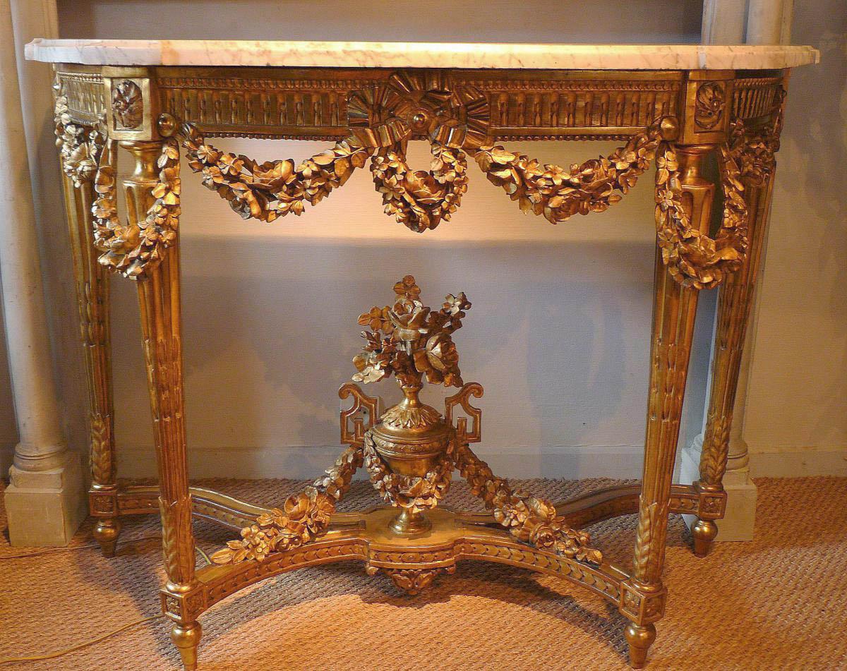 fine french louis xvi period demi lune console table. Black Bedroom Furniture Sets. Home Design Ideas