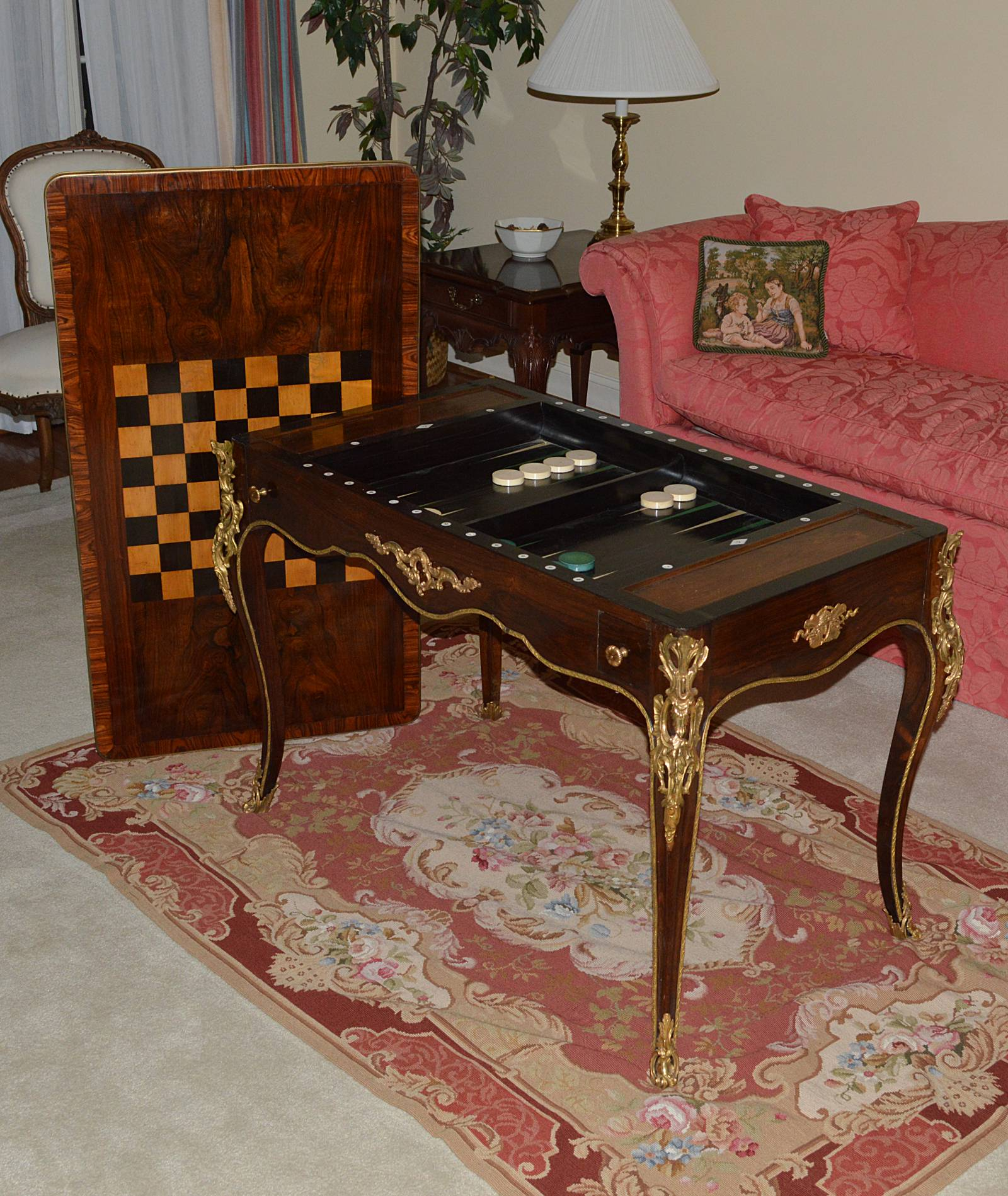 Fine, French, Louis XV style tric-trac table