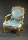 Very fine, French, early Louis XV period fauteuil a la reine