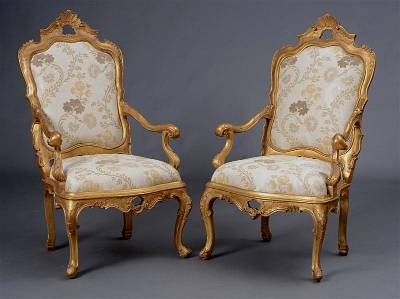 Pair of very fine, Venetian, Rococo period tall-back armchairs